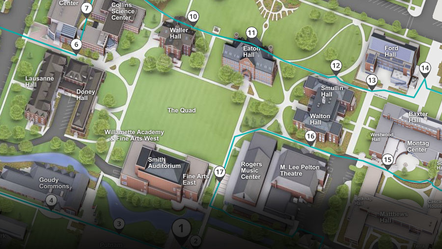 map of Willamette campus showing the virtual tour route