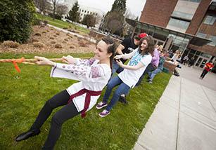 students playing tug of war