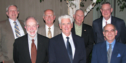 Members of the Class of 1960: (from left) M. Chapin Milbank LLB'60; Ronald B. Lansing JD'60; Lewis B. Hampton BA'55, JD'60; Rodney C. Adams LLB'60; Gary E. Lockwood BA'57, JD'60; Theodore C. Carlstrom JD'60; and Dean Symeon C. Symeonides