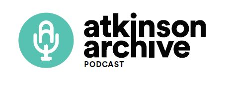 Atkinson Archive Podcast logo with microphone image and black type
