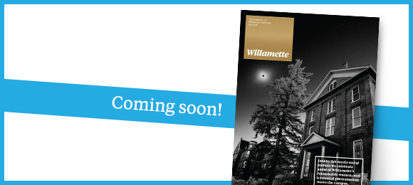 Cover of Willamette magazine, black and white of Waller Hall with solar eclipse