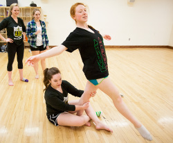 Willamette students prepare for the spring dance concerts set for April 19 and 21 in Smith Auditorium.