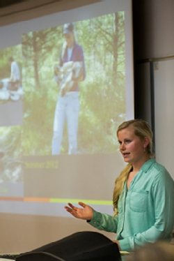 Megan Hash '13, an environmental science major, discusses her thesis research on improving the tracking efficiency of wolves.