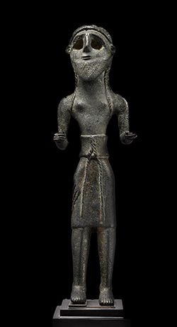 """Standing male figure,"" Lebanon, from Jezzine, late 3rd–early 2nd millennium BCE; Private collection, New York."