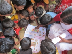 In anganwadi centers throughout Jkarkhand, India, preschool-aged students begin to learn Hindi to help them transition to primary school.