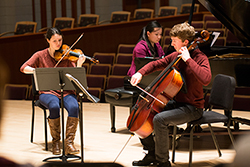 (Left to right) Violinist Chloe Prendergast '14, pianist Sherry Liang '16 and cellist Jason Pegis '16 are competing in the Chamber Music Strings division at the MTNA conference in Chicago.