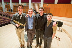 (Left to right) Sean Edging '14, saxophone, Las Vegas; Matt Sazima '14, piano, Granite Bay, Calif.; Jarrett Tracy '15, drums, Sacramento, Calif.; Thomas Shipley '15, bass, Tucson, Ariz.
