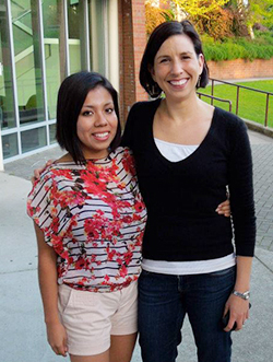 Martha Sonato '15, alongside politics professor Megan Ybarra