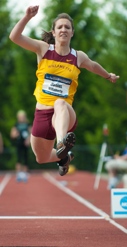"Bekah Daniel '14 placed 21st in NCAA Division III in the triple jump this spring. She set the Willamette record during the season at 38' 6.75""."