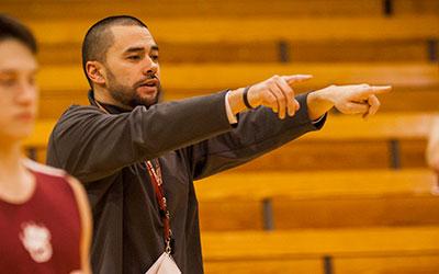 Head Basketball Coach Kip Ioane '01, MAT '02 leads by example.