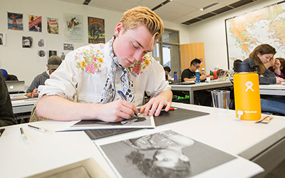 William Forkin '19 chose Alok Vaid-Menon, an American Indian performance artist and poet, as the subject of a paper-cut portrait.