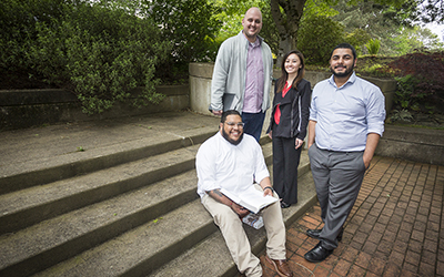 Members of the editorial board of the Social Justice and Equity Law Journal (from L to R: Felipe Rendón, Andy Blevins, Megan Oshiro and Christian Muro).