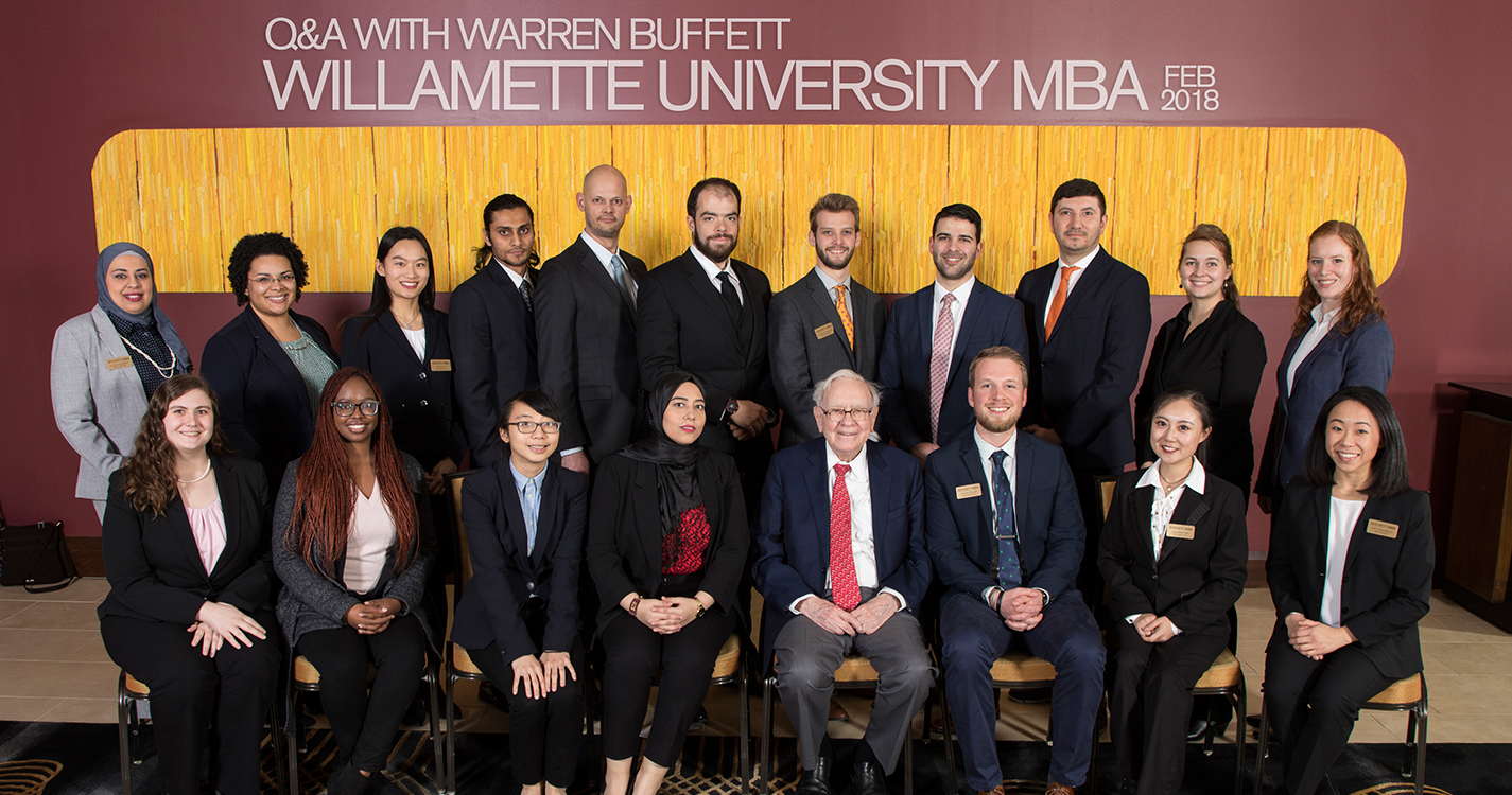WU MBA students with Warren Buffet