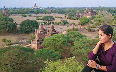 Phoebe Keever with temples in Myanmar