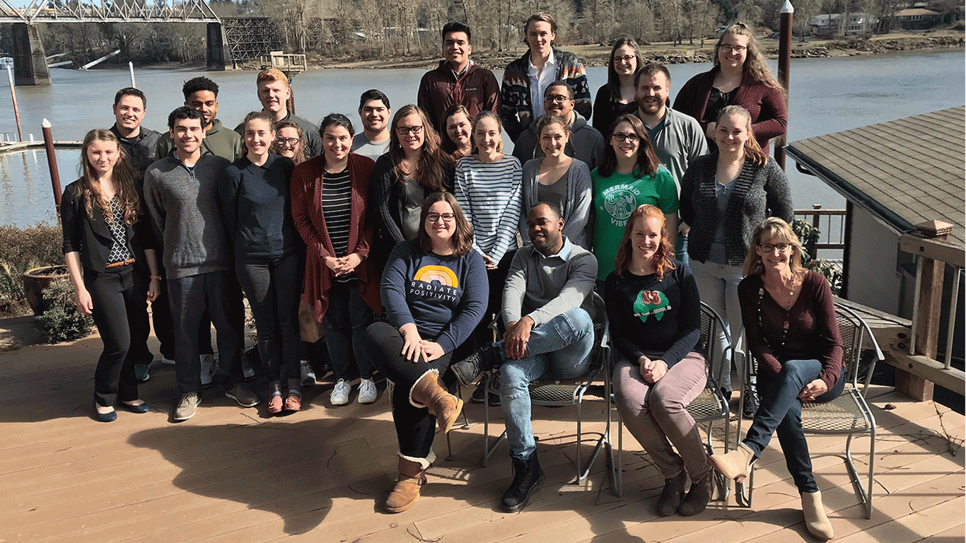 MBA student leaders from the class of 2019 and 2020 meet in Lake Oswego Oregon during the 2019 Leadership Retreat