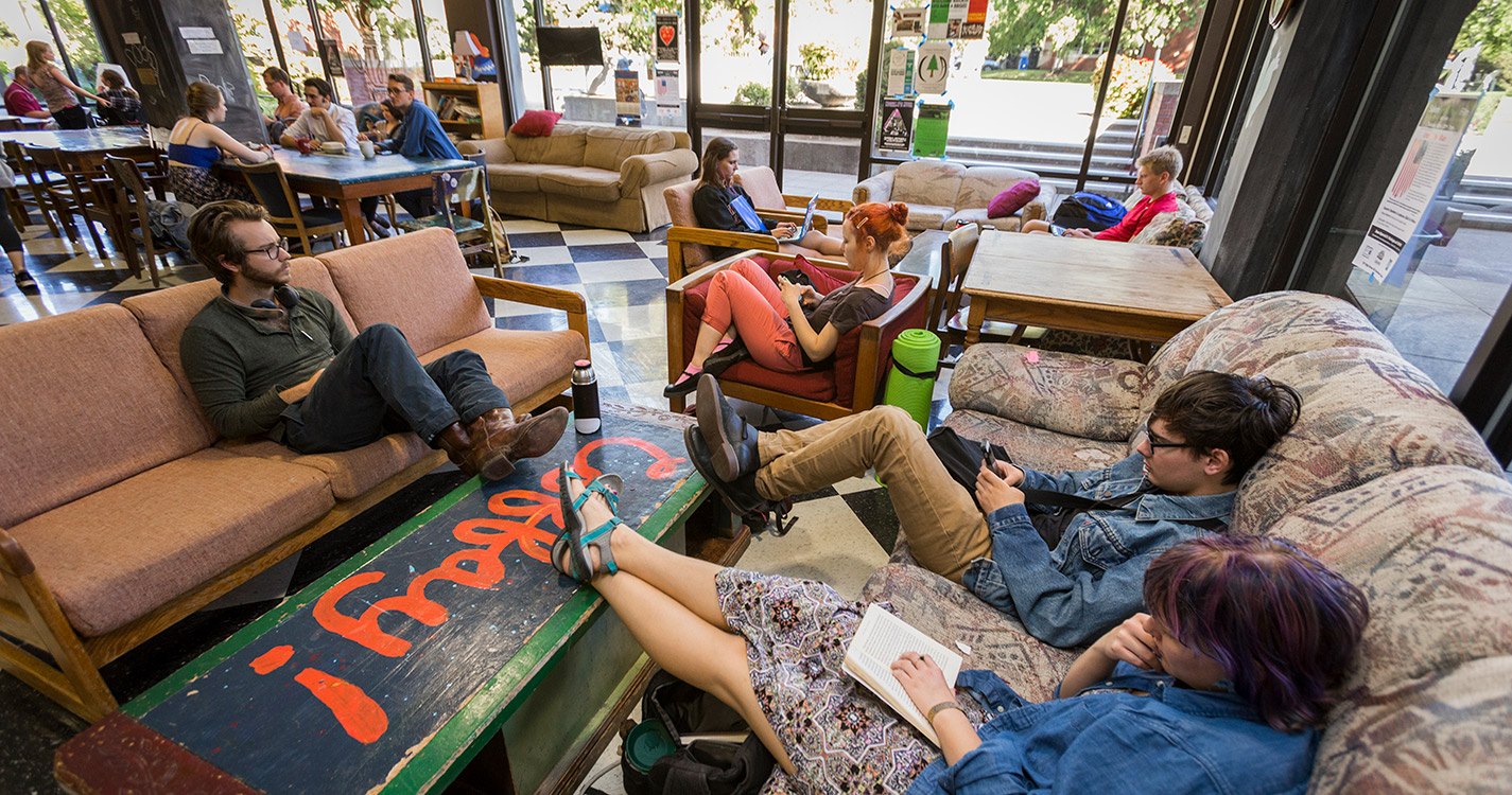 Students lounging on the couches in the Bistro