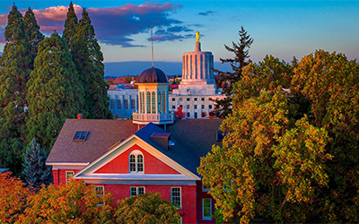 Waller hall cupola from above, autumn colored trees, Oregon  state capitol in background