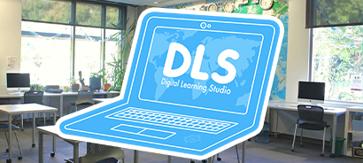 """DLS logo of blue laptop with """"DLS"""" on the screen, overlaying a photo of the DLS"""
