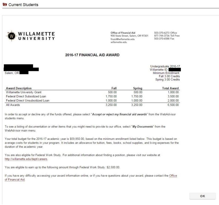 viewing your award letter, financial aid | willamette university