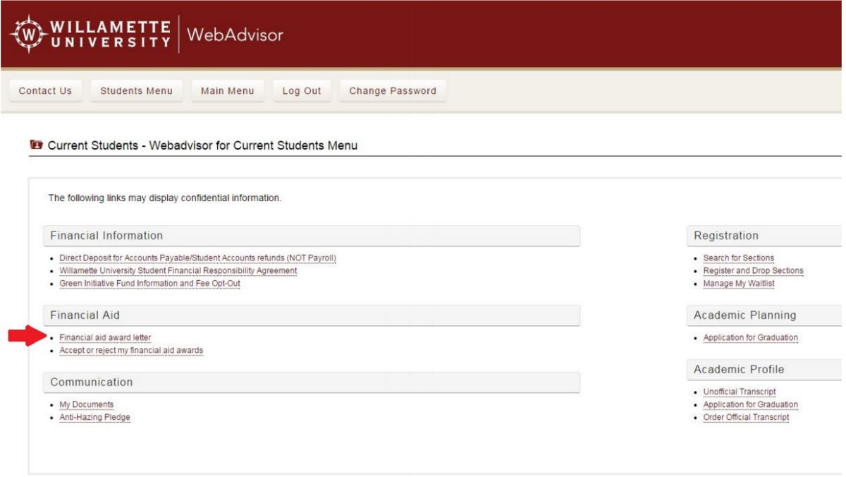 Viewing Your Award Letter Financial Aid