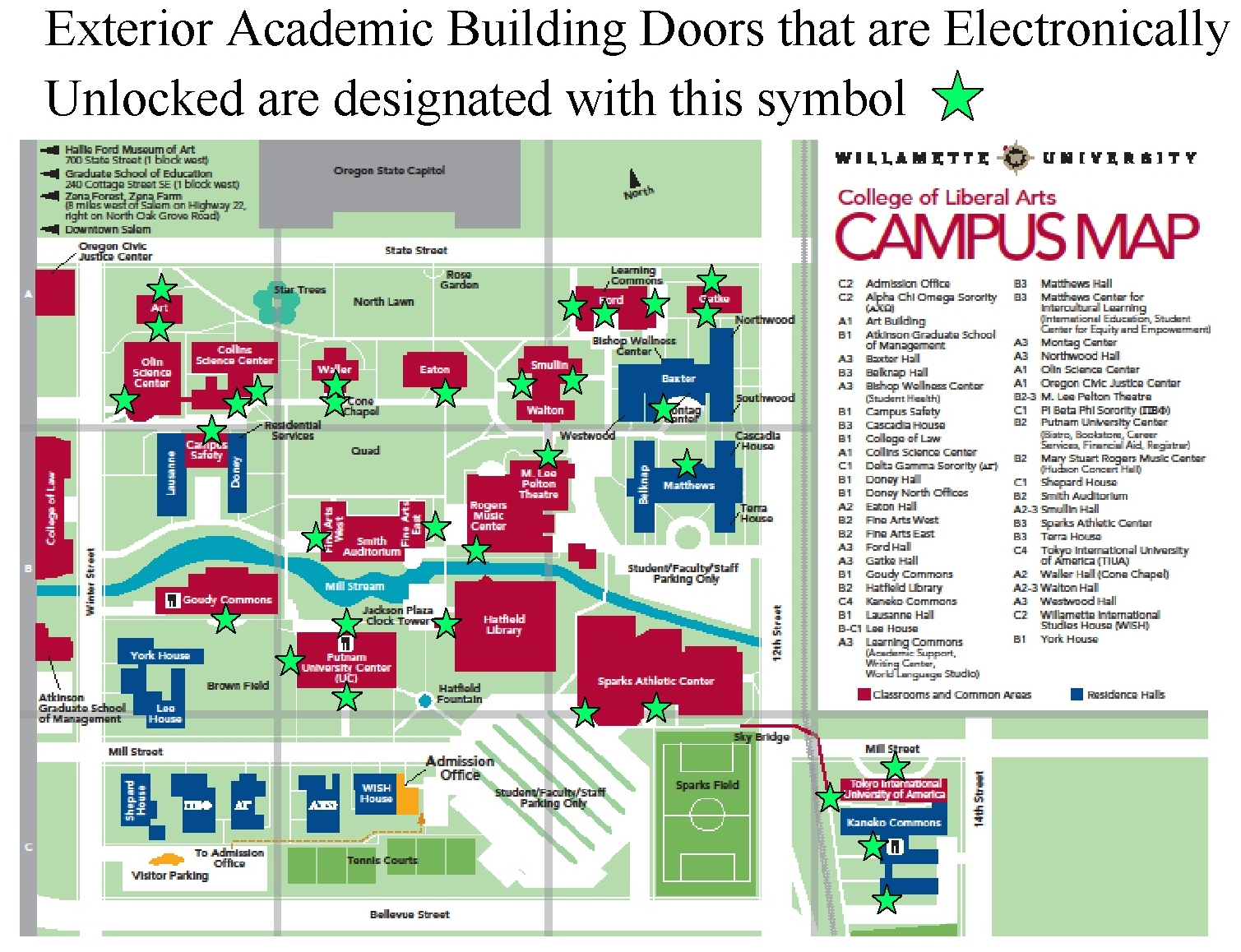 Clickable Door Lock Map (click the green star)  sc 1 st  Willamette University & Campus Safety: Click Door Lock Policy Map